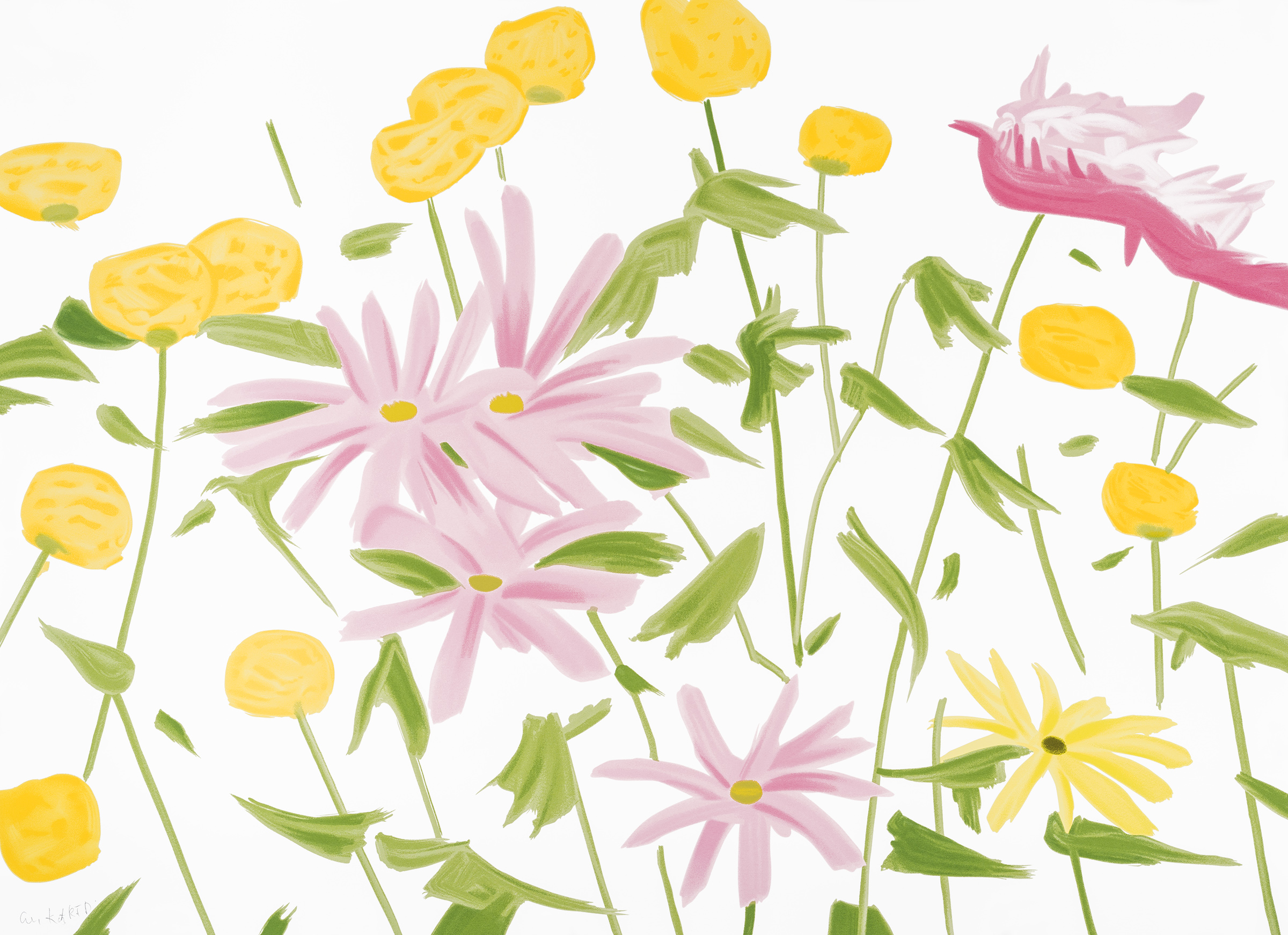 Alex Katz  Spring Flowers , 2017 24-color silkscreen on Saunders Waterford 425 gsm paper 40 x 55 in. edition of 60