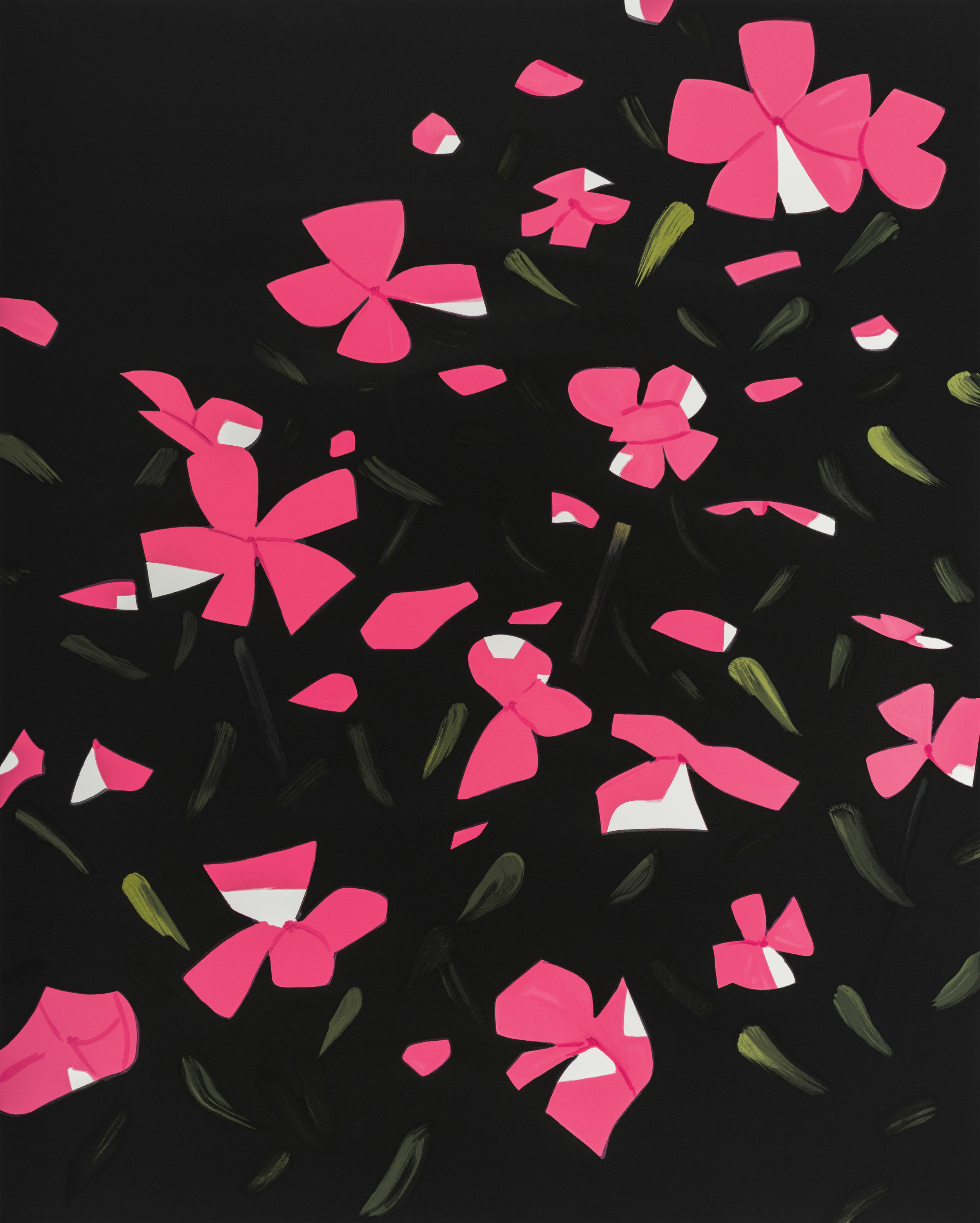 Alex Katz  White Impatiens , 2016 26-color silkscreen on Saunders 425 gsm paper 70 x 56 in. edition of 70
