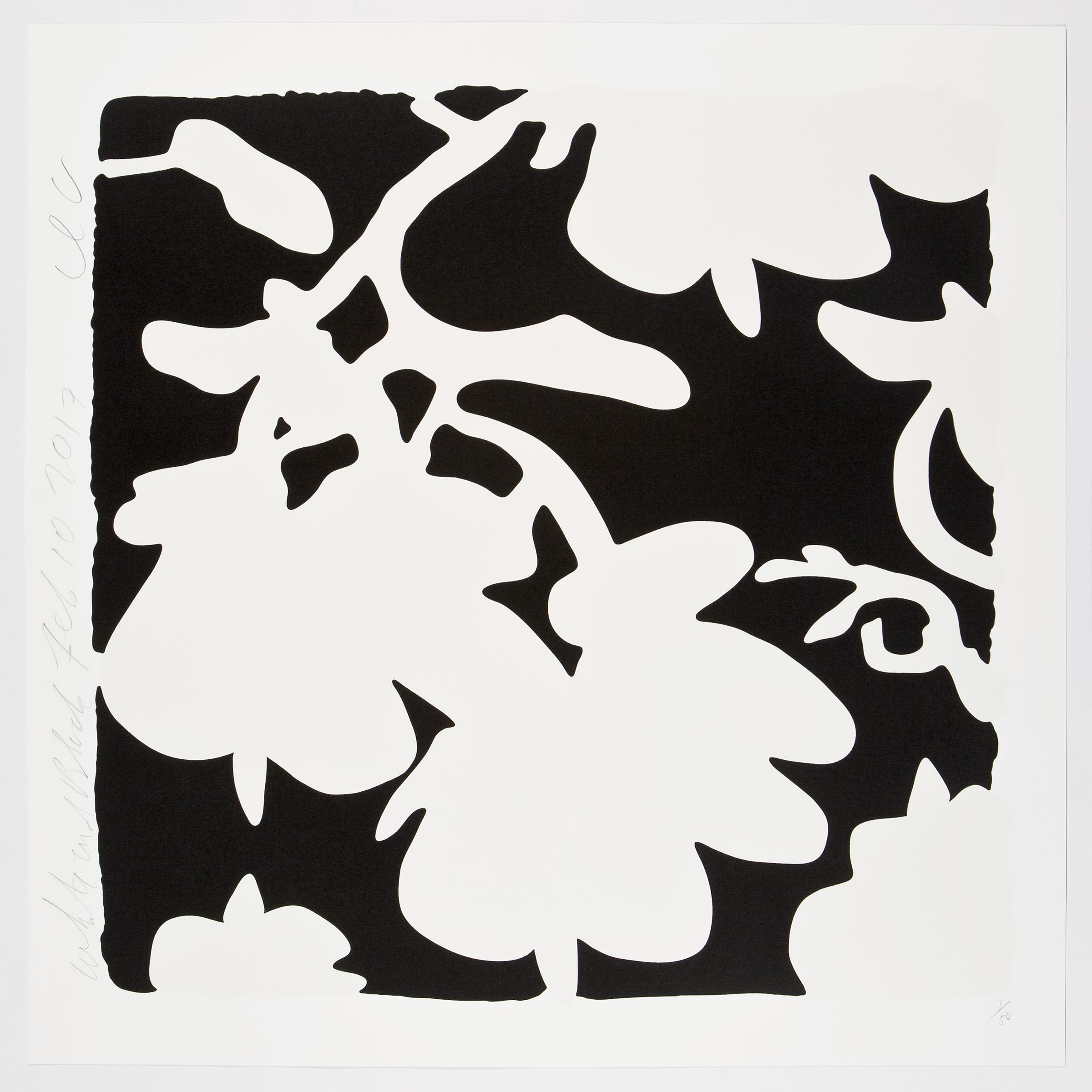 Donald Sultan  White and Black , 2017 color silkscreen with over-printed flocking on Rising, 2-ply museum board 32 x 32 in.