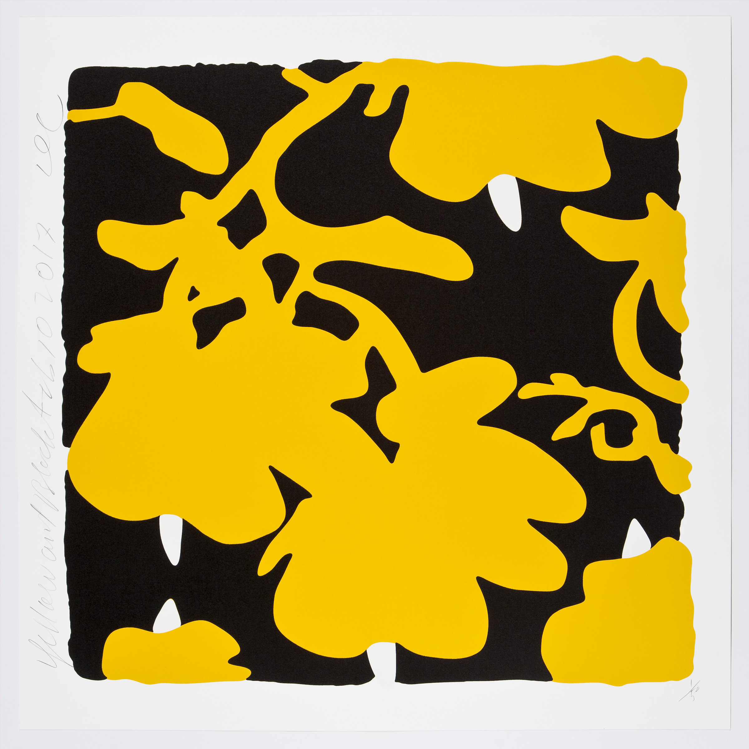 Donald Sultan  Yellow and Black , 2017 color silkscreen with over-printed flocking on Rising, 2-ply museum board 32 x 32 in.