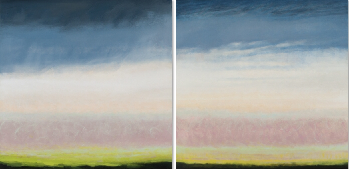 Janet Jennings  Sagg Storm Diptych,  2017 oil on canvas 48 x 96 in.