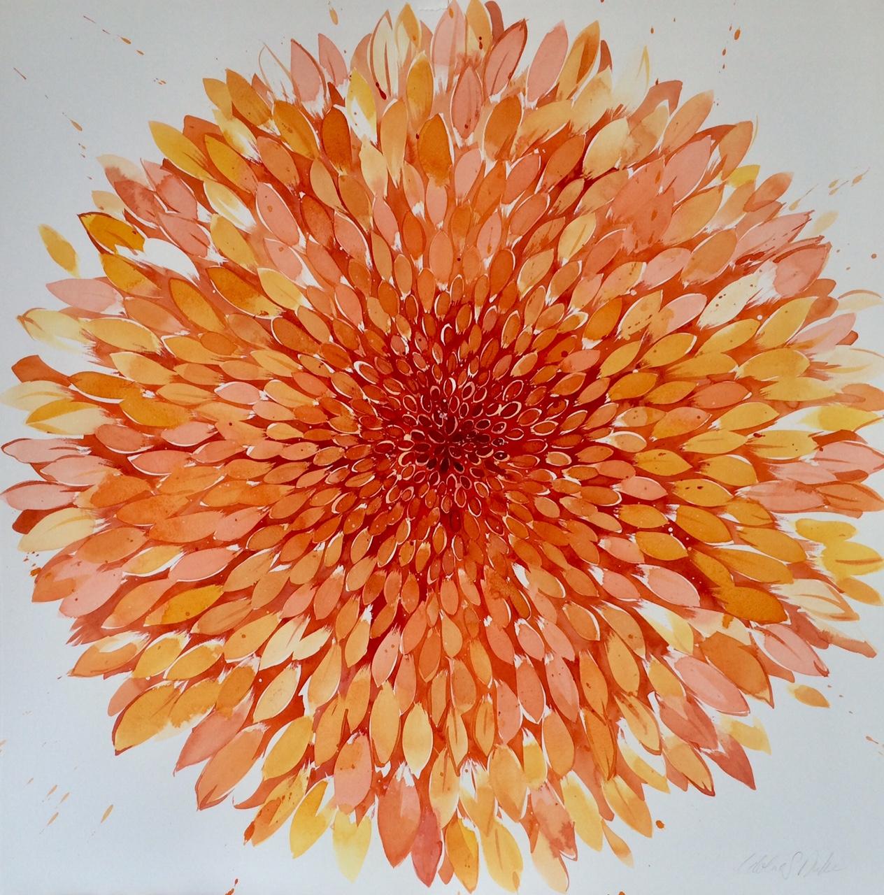 Idolize Duke  Big Summer Orange,  2018 Watercolor/India ink 30 x 30 in.