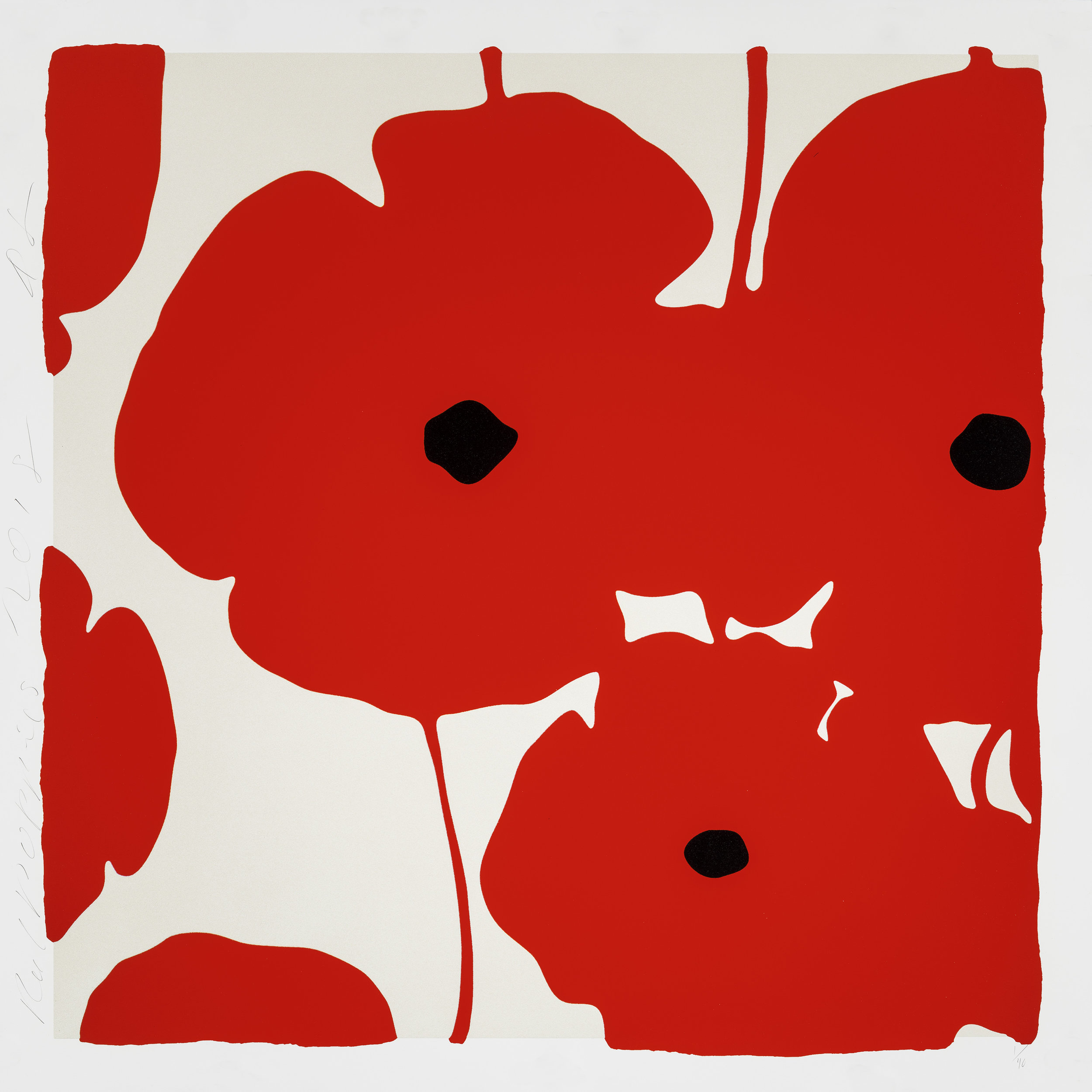 Donald Sultan  Red   Poppies,  2018 Color silkscreen with over-printed flocking 39 x 39 in.  edition of 40