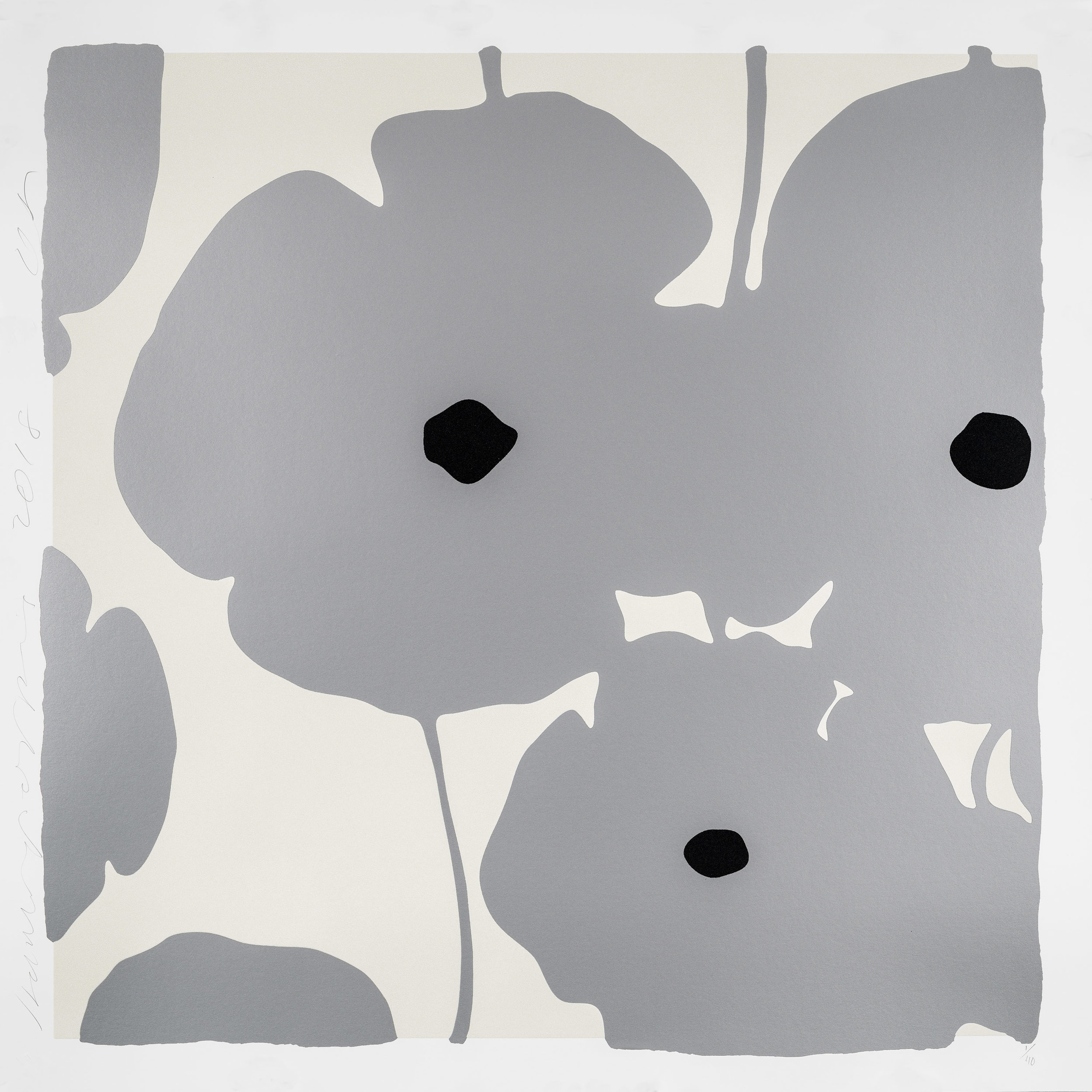 Donald Sultan  Silver Poppies,  2018 Color silkscreen with over-printed flocking 39 x 39 in.  edition of 40