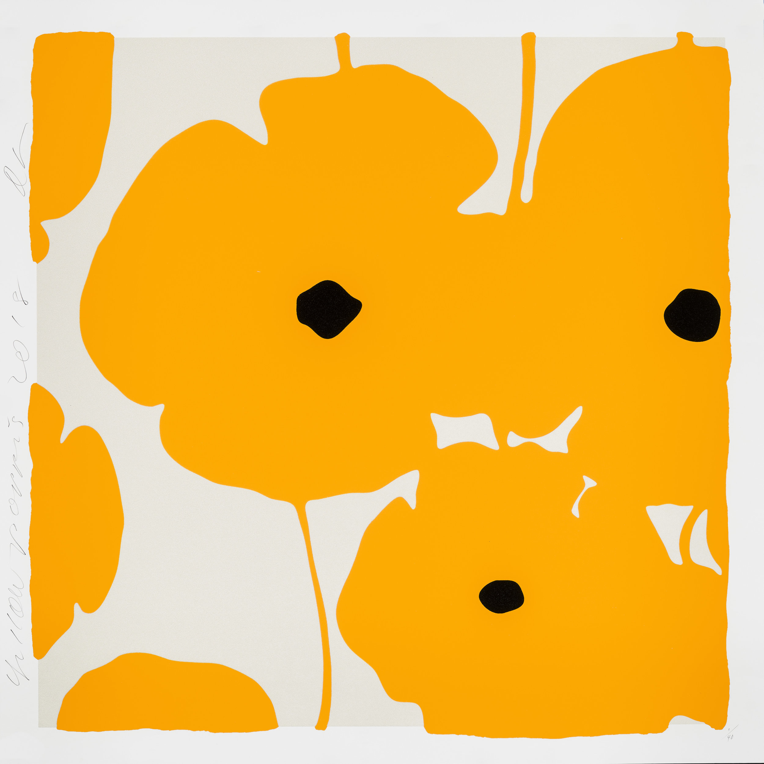 Donald Sultan  Yellow Poppies,  2018 Color silkscreen with over-printed flocking 39 x 39 in.  edition of 40