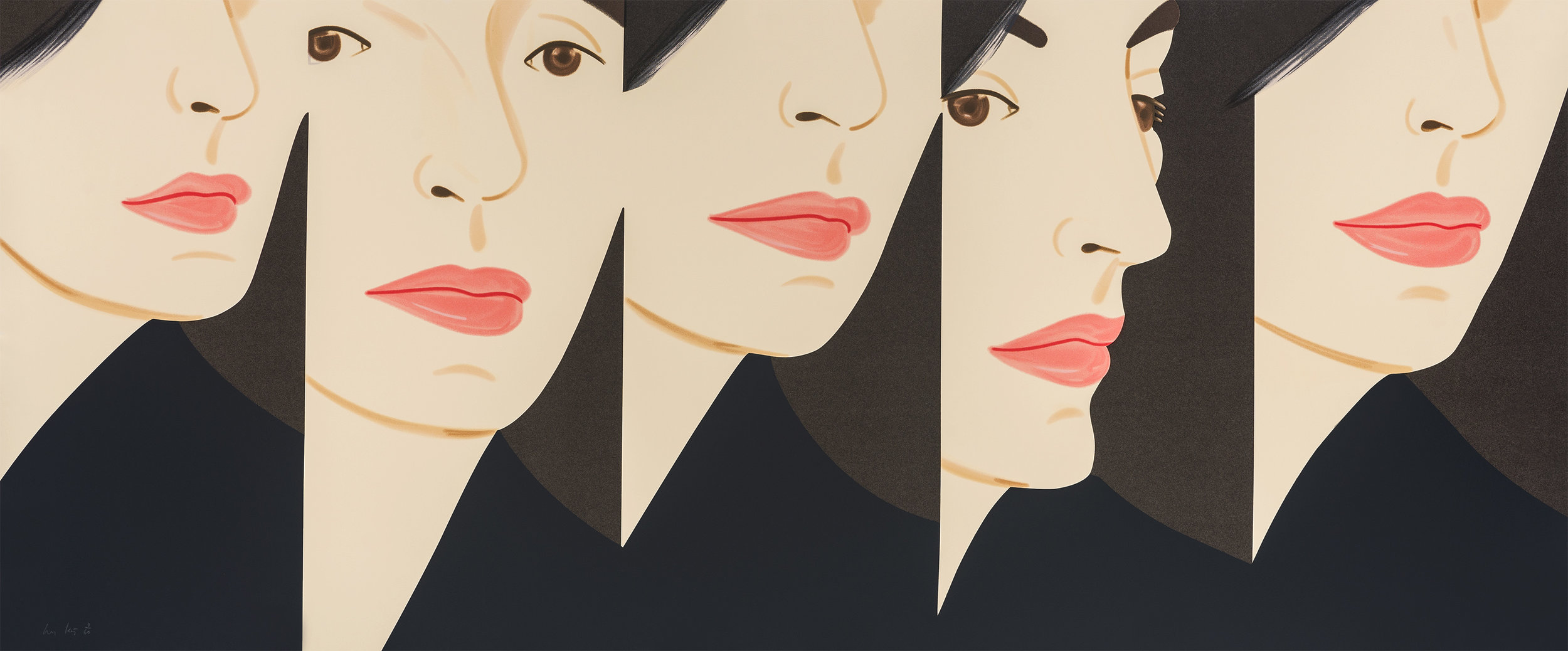 Alex Katz  VIVIEN X 5 , 2018 20-color silkscreen 40 x 96 in.