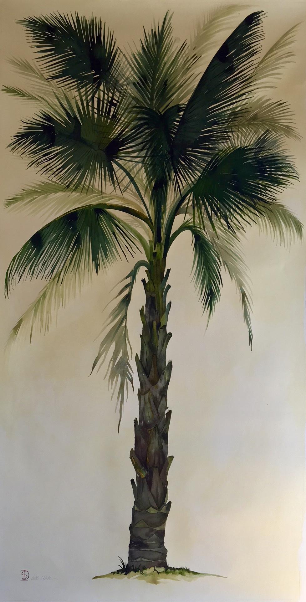 Idoline Duke  Big Palm II  watercolor on paper 72 x 36 in.