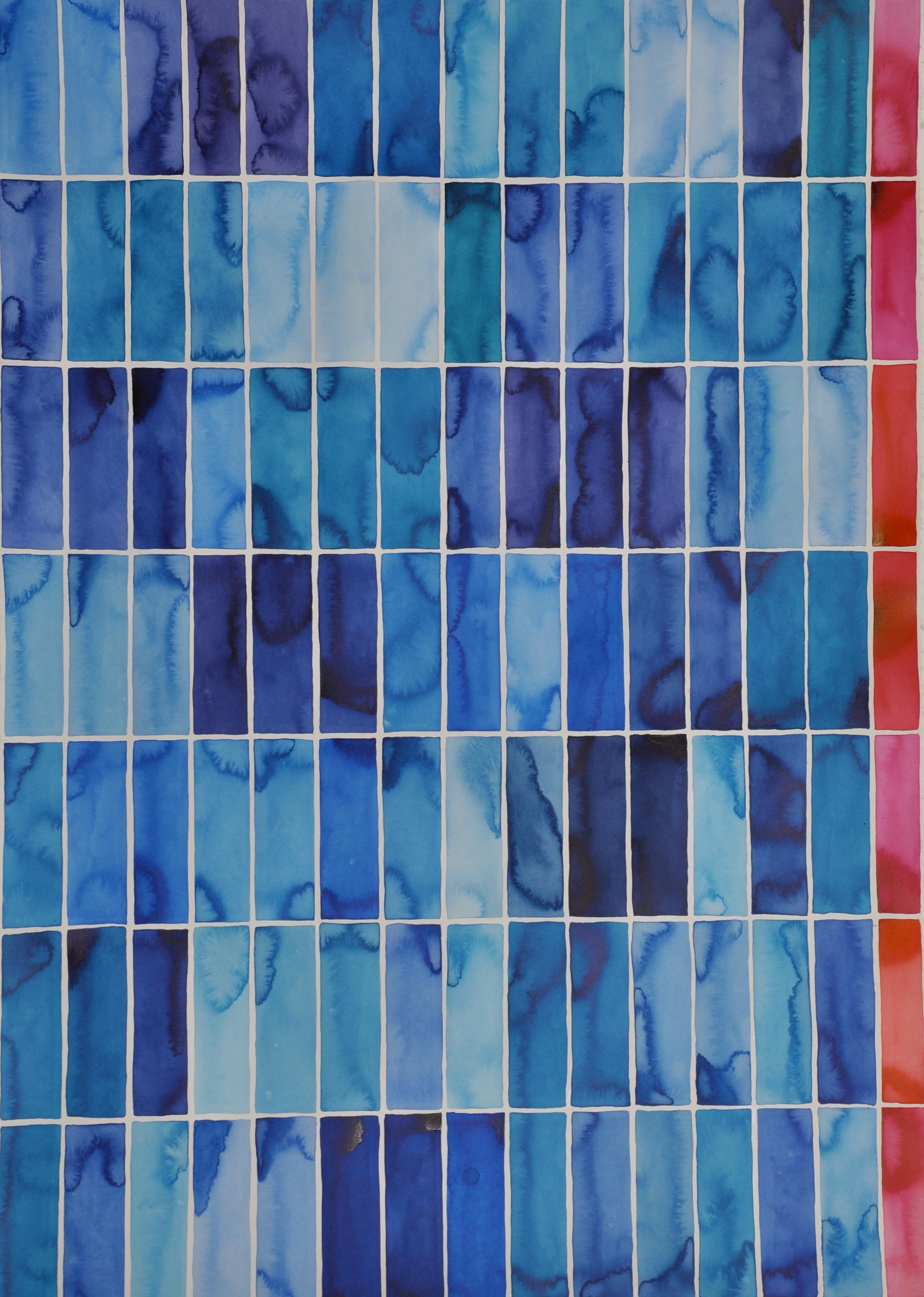 Idoline Duke  Big Blue Grid II  watercolor on paper 42 x 30 in.