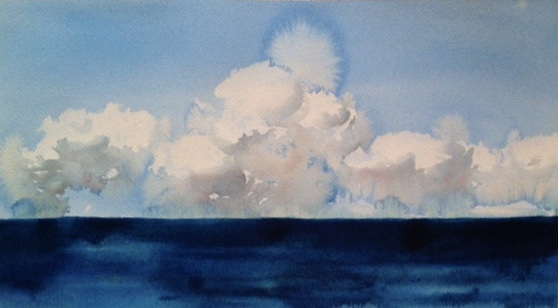 Idoline Duke  Abaco Clouds  watercolor on paper 11 x 18 in.