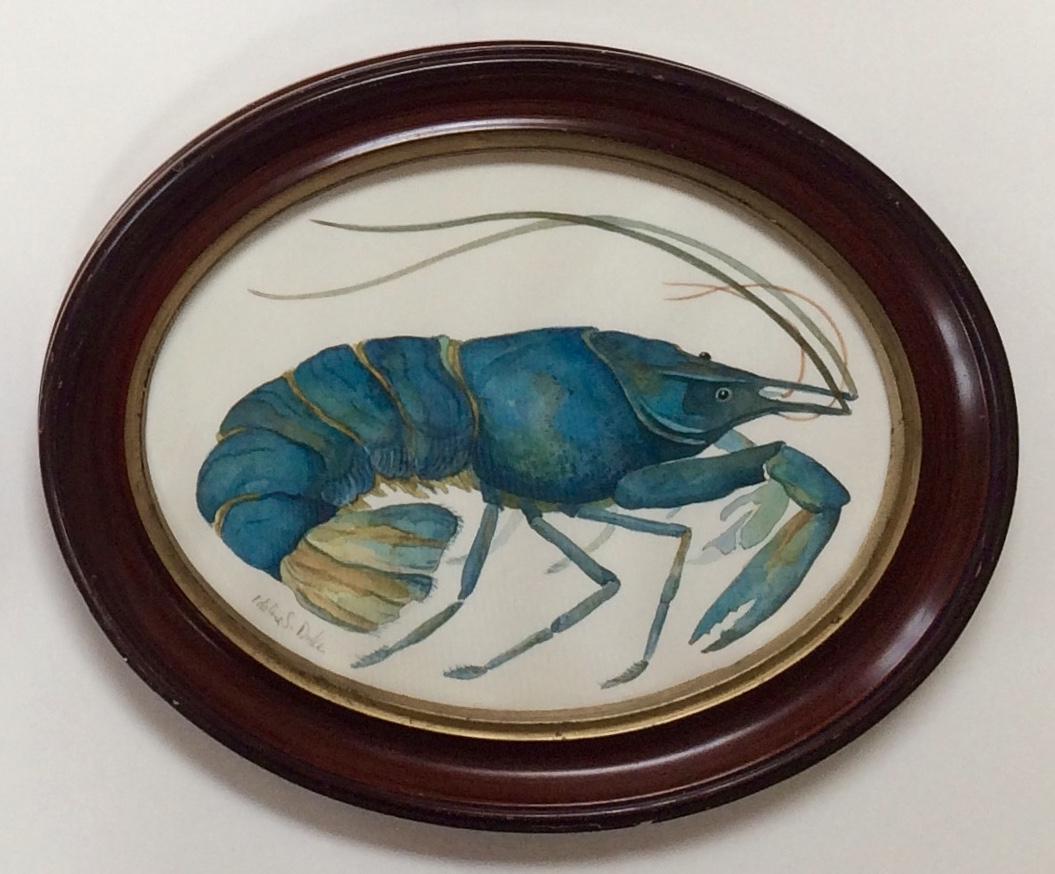Idoline Duke  Blue Lobster  watercolor on paper 9 in. oval