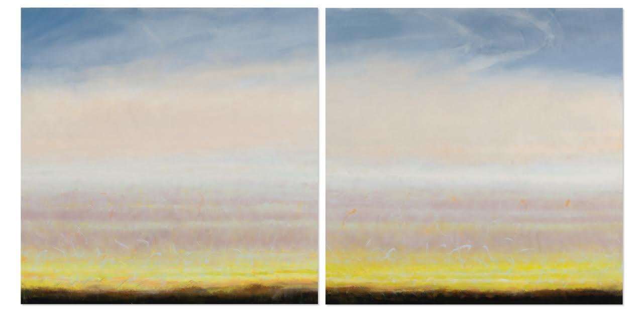 Janet Jennings  Field of Dreams Diptych , 2017 oil on canvas 40 x 40 in. each