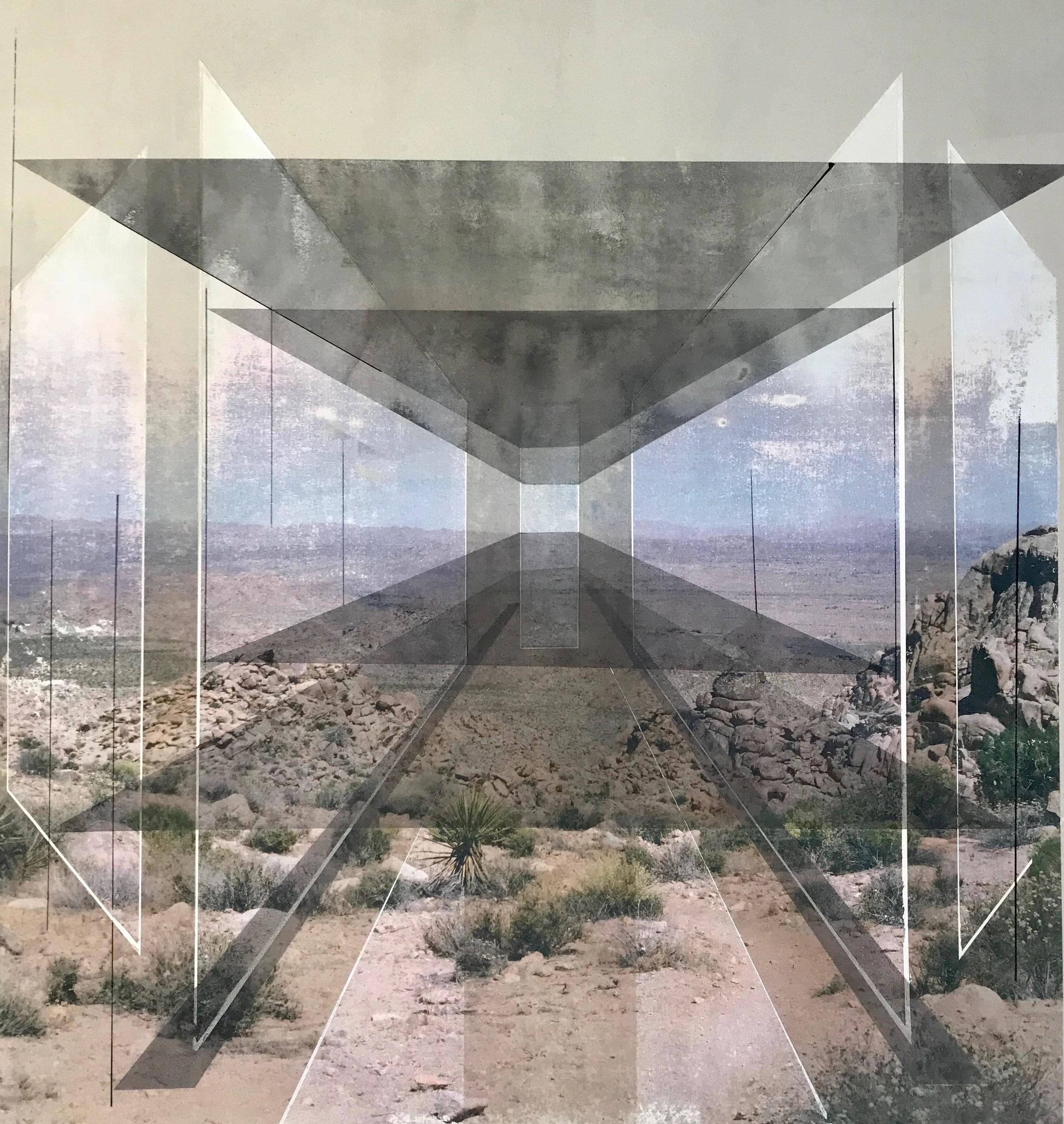 Rodrigo Valenzuela  New Land 15  toner, acrylic, chalk on canvas  framed in white wood shadow box frames