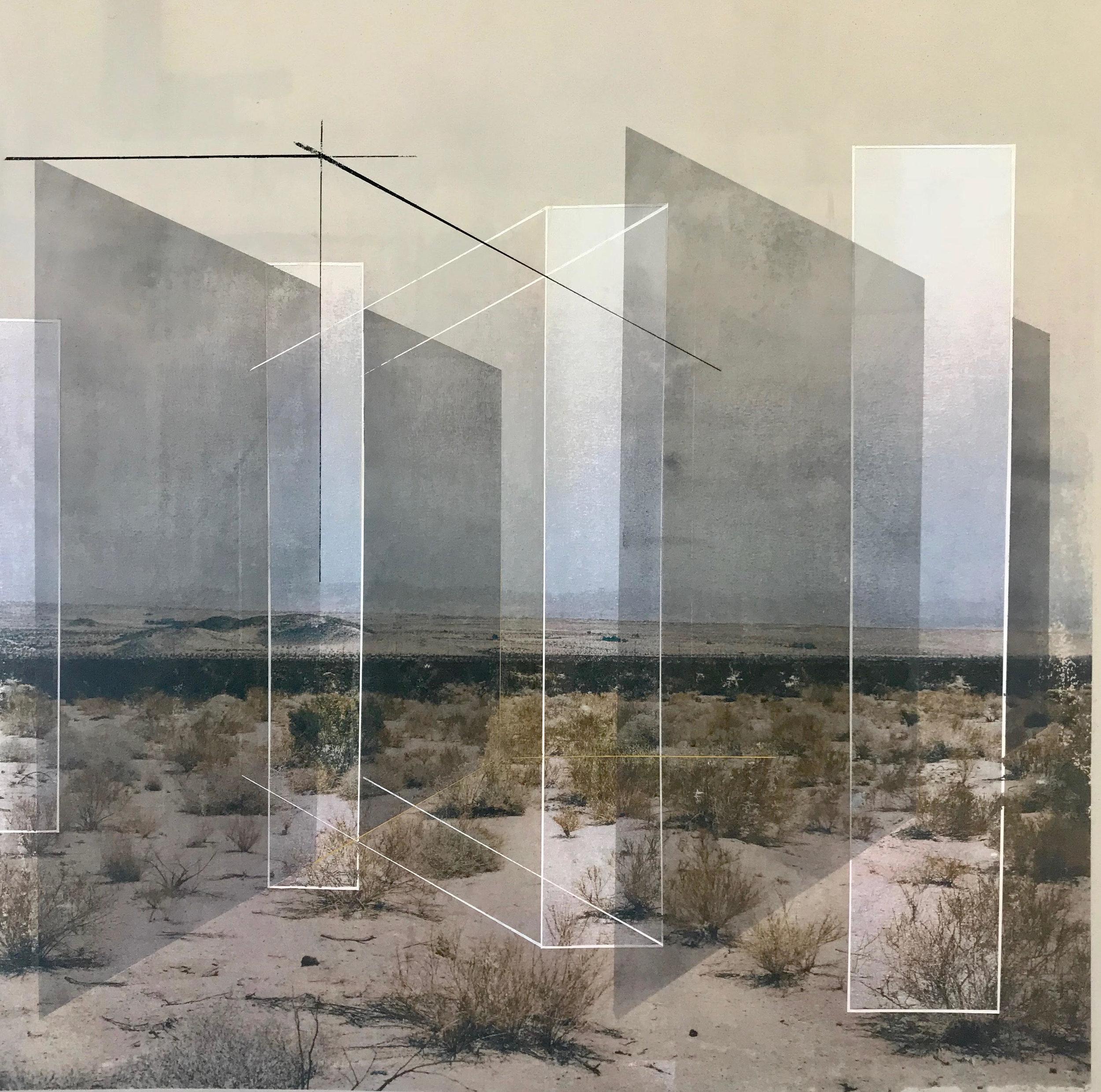 Rodrigo Valenzuela  New Land 14  toner, acrylic, chalk on canvas  framed in white wood shadow box frames
