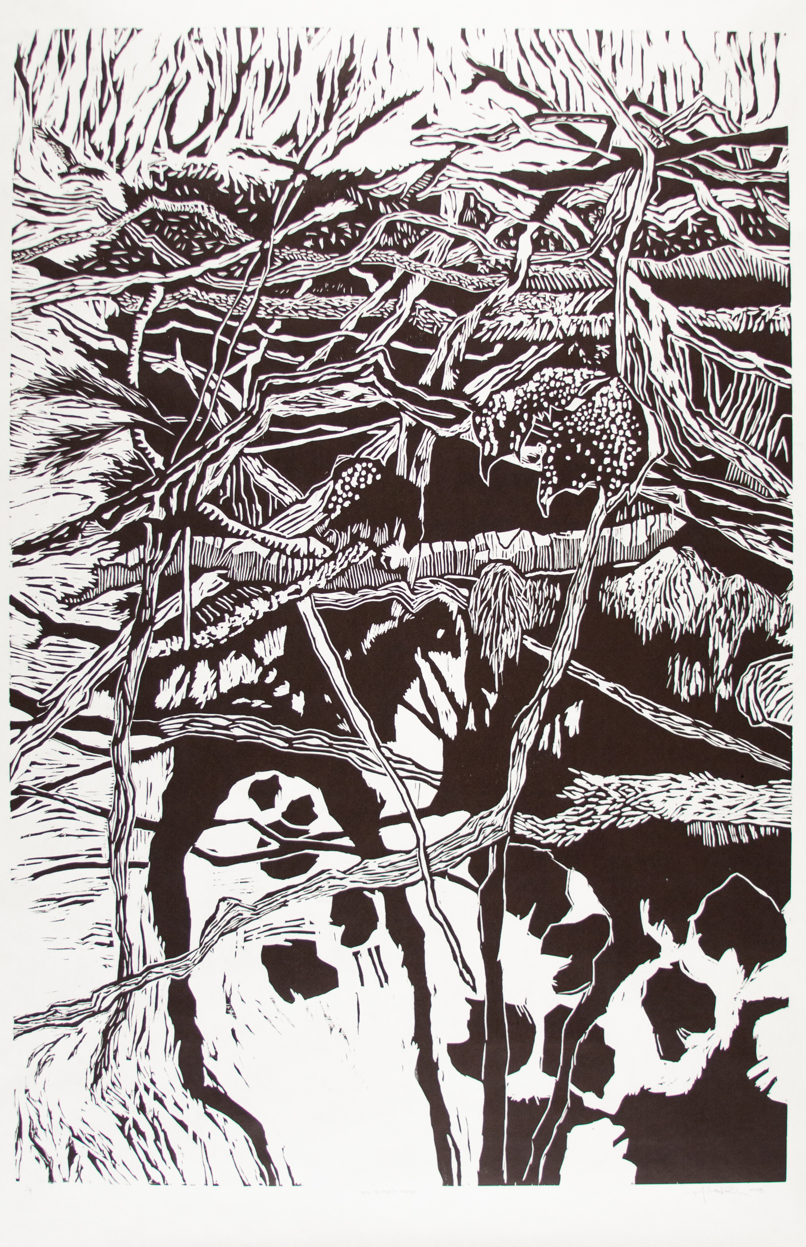 Michael Rich  Big Bird's Nest,  2018 woodcut print 72 x 36 in. edition of 4