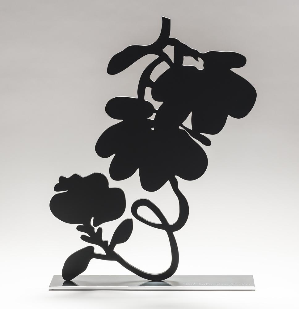 DONALD SULTAN  Black Lantern Flowers,  2018 shaped aluminum with black powder coat on polished aluminum base 28 x 21.5 x 4 in.