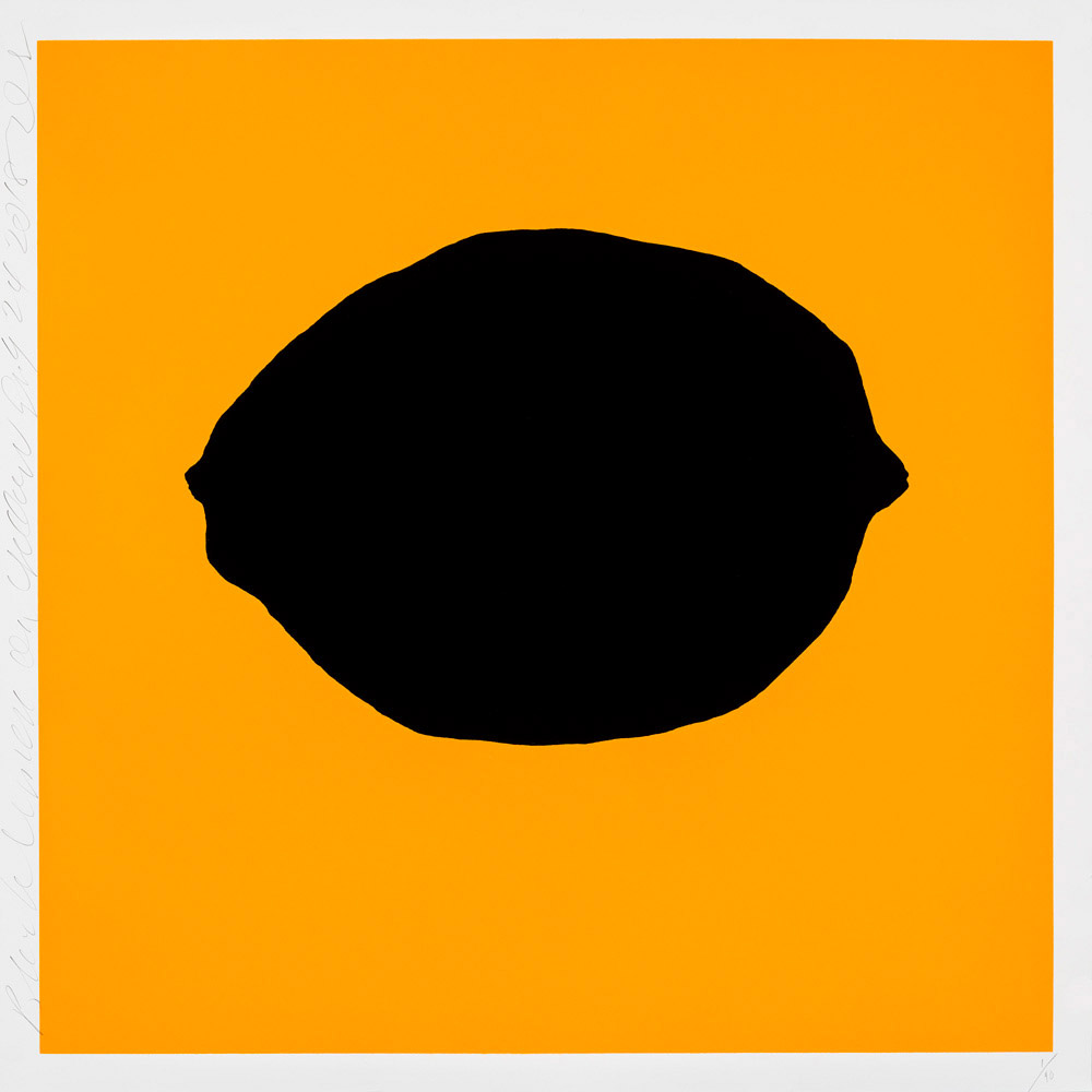 DONALD SULTAN  Black Lemon on Yellow, July 24, 2018,  2018 color silkscreen with enamel inks and tar-like texture on 2-ply museum board 39 x 39 in.