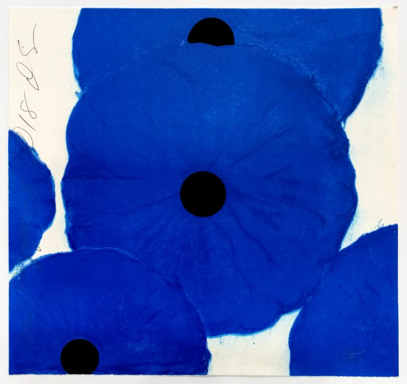 DONALD SULTAN    Blue Poppies 2018, 2018 screen print in 11 colors with flocking 19 x 20 in.