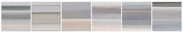 JANET JENNINGS  Grey of Grey,  2018 oil on linen 6-  12 x 12 in. each