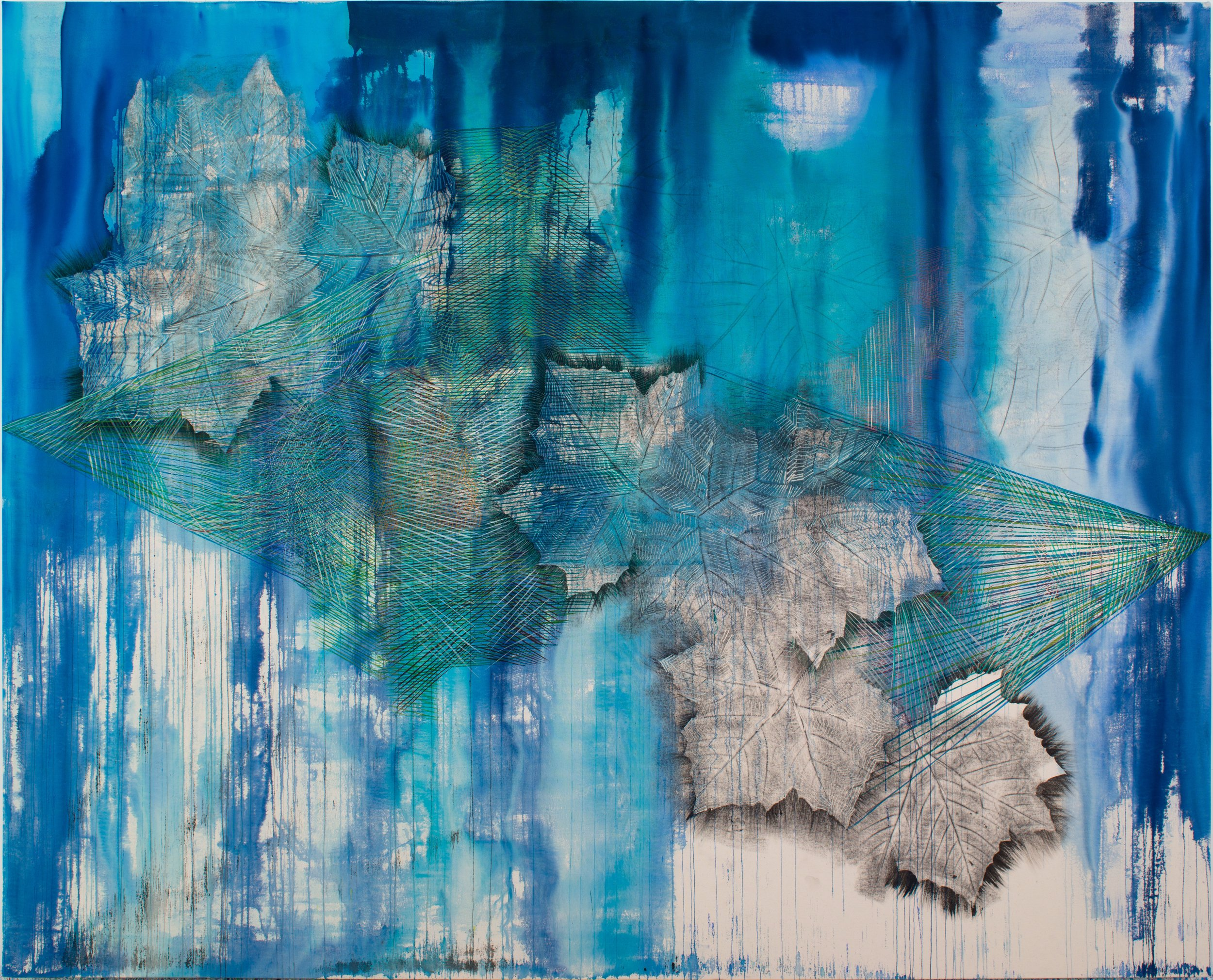 ALYSE ROSNER  Cat's Cradle (azure),  2019 graphite on canvas 76 x 94 in.