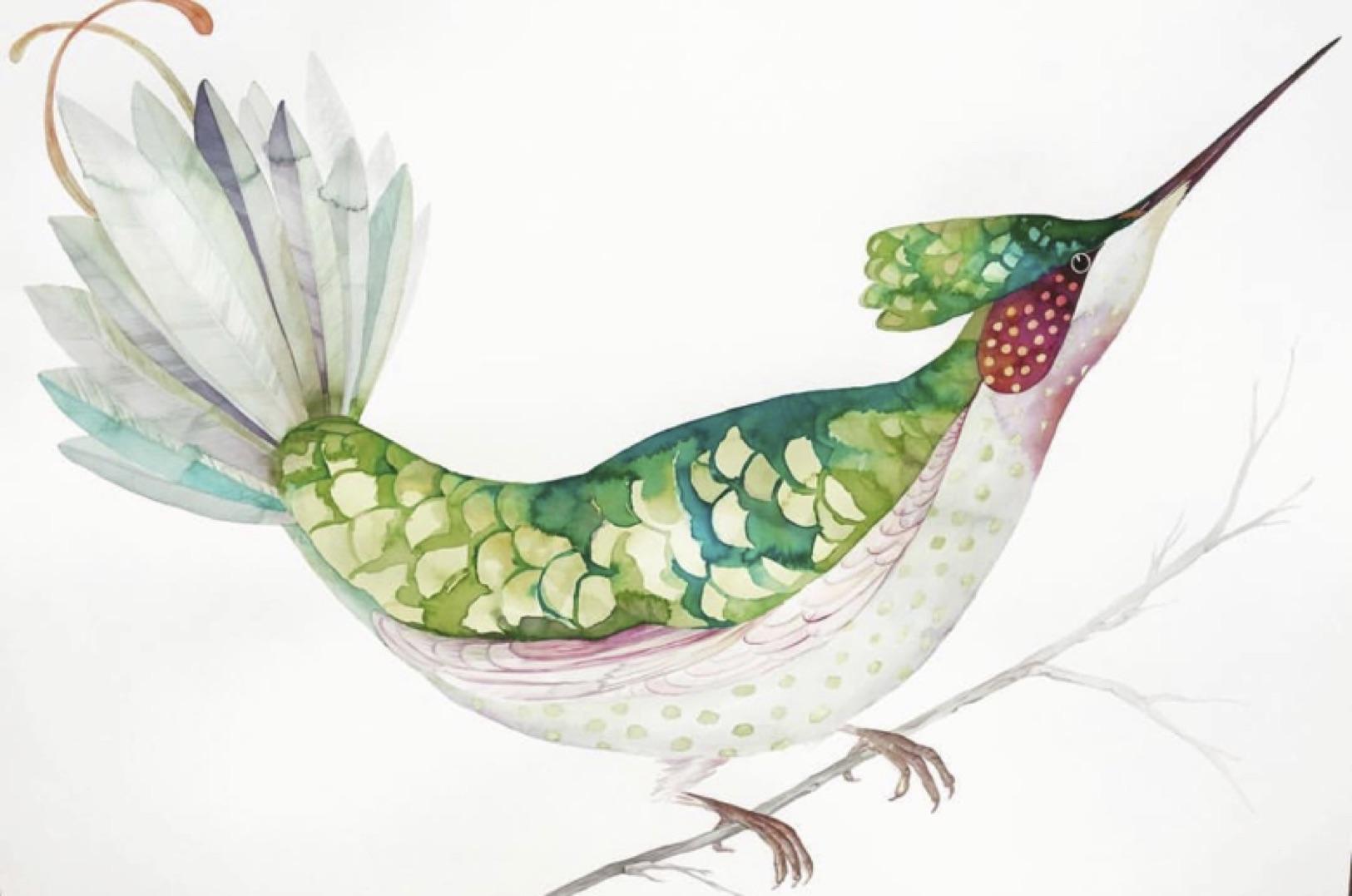 IDOLINE DUKE  Hummingbird , 2019 watercolor on paper 30 x 41 in.
