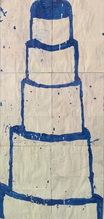 Gary Komarin  Cake Stacked: Blue on White , 2016 water-based enamel paint on paper stacks 50 x 23 1/2 in.