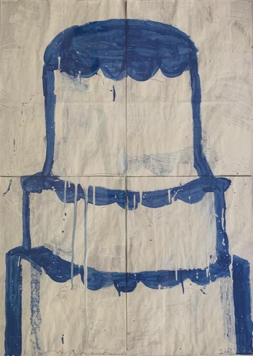 Gary Komarin  Cake Stacked: Blue on White , 2015 water-based enamel paint on paper stacks 33 1/4 x 24 in.