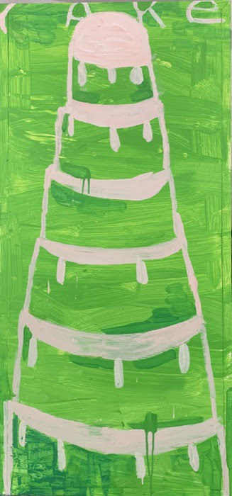 Gary Komarin  Cake Stacked: Light Pink on Green,  2015 water-based enamel paint on wooden panel 51 x 24 in.