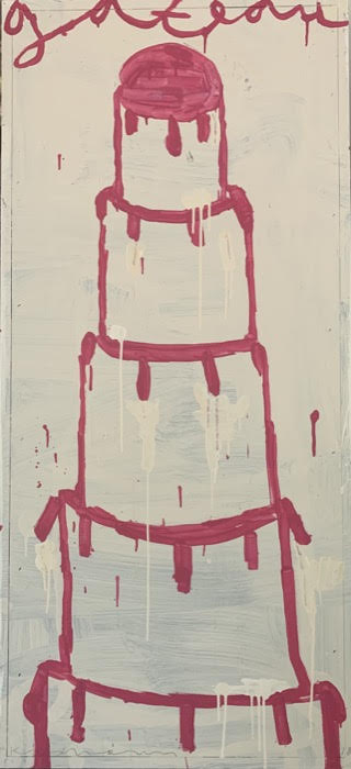 Gary Komarin  Cake Stacked: Bright Pink on White , 2018 water-based enamel paint on wooden panel 51 x 23 1/2 in.