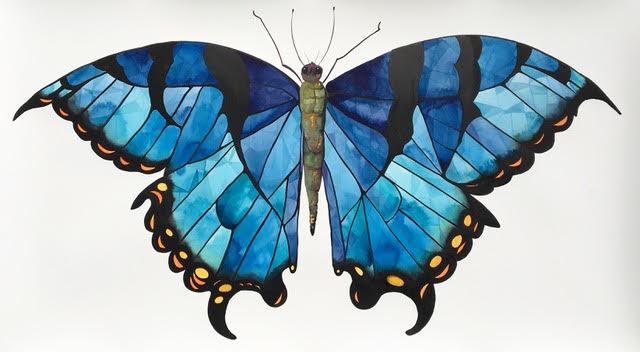 Idoline Duke  Big Butterfly , 2019 watercolor on paper 30 x 53 in.