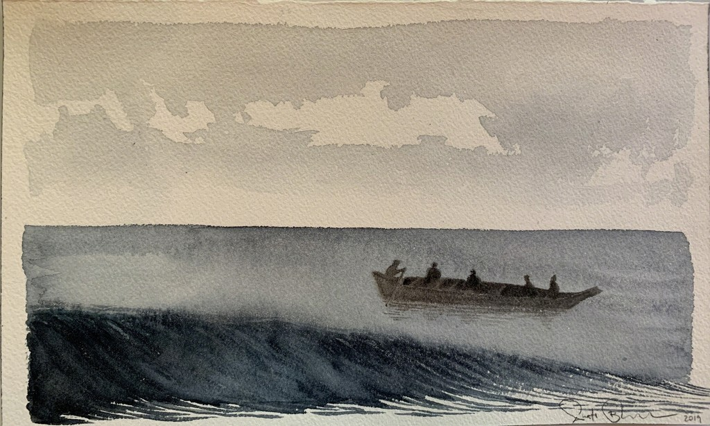 Scott Bluedorn  Voyagers , 2019 watercolor on paper 6 1/8 x 10 in.
