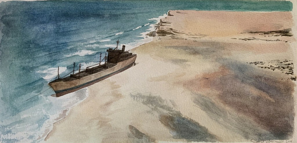 Scott Bluedorn  Forsaken Shore , 2014 watercolor on paper 7 1/2 x 15 1/4 in.