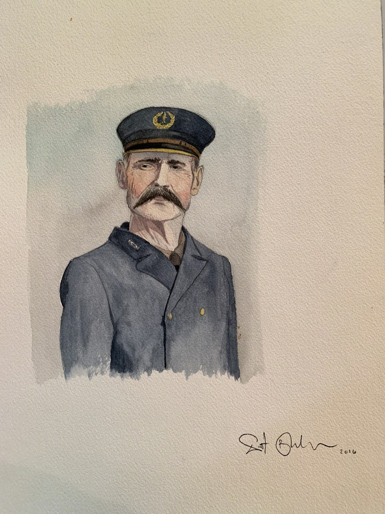 Scott Bluedorn  Lighthouse Keeper , 2016 watercolor on paper 14 x 10 in.