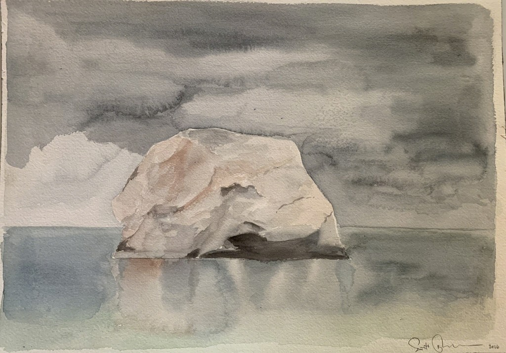 Scott Bluedorn  The Rock , 2016 watercolor on paper 10 1/2 x 8 in.