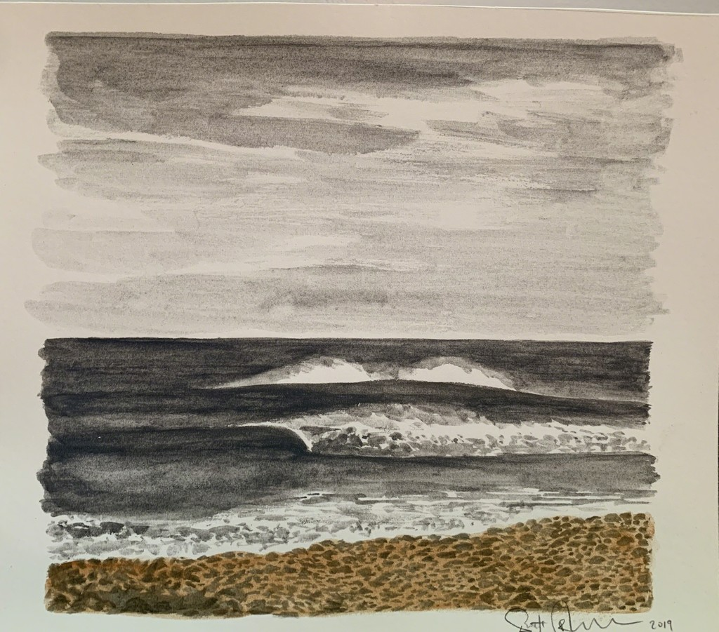 Scott Bluedorn  Wave Study , 2019 watercolor on paper 6 3/4 x 8 in.