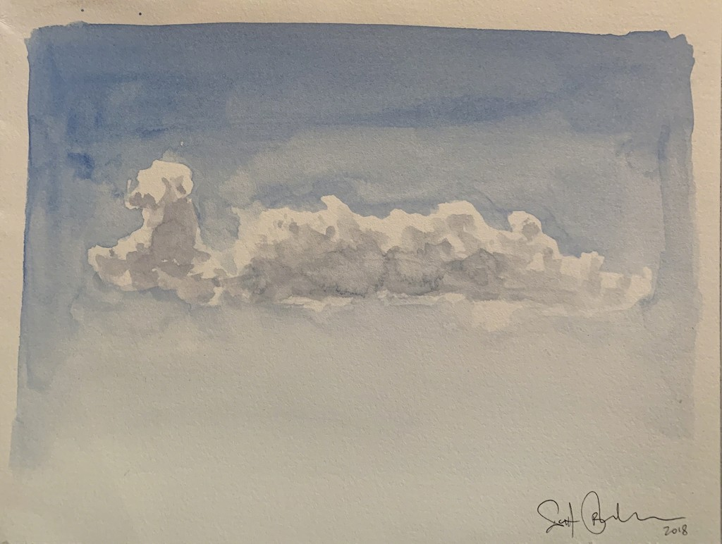 Scott Bluedorn  Cloud Study: Light , 2018 watercolor on paper 6 1/8 x 8 in.