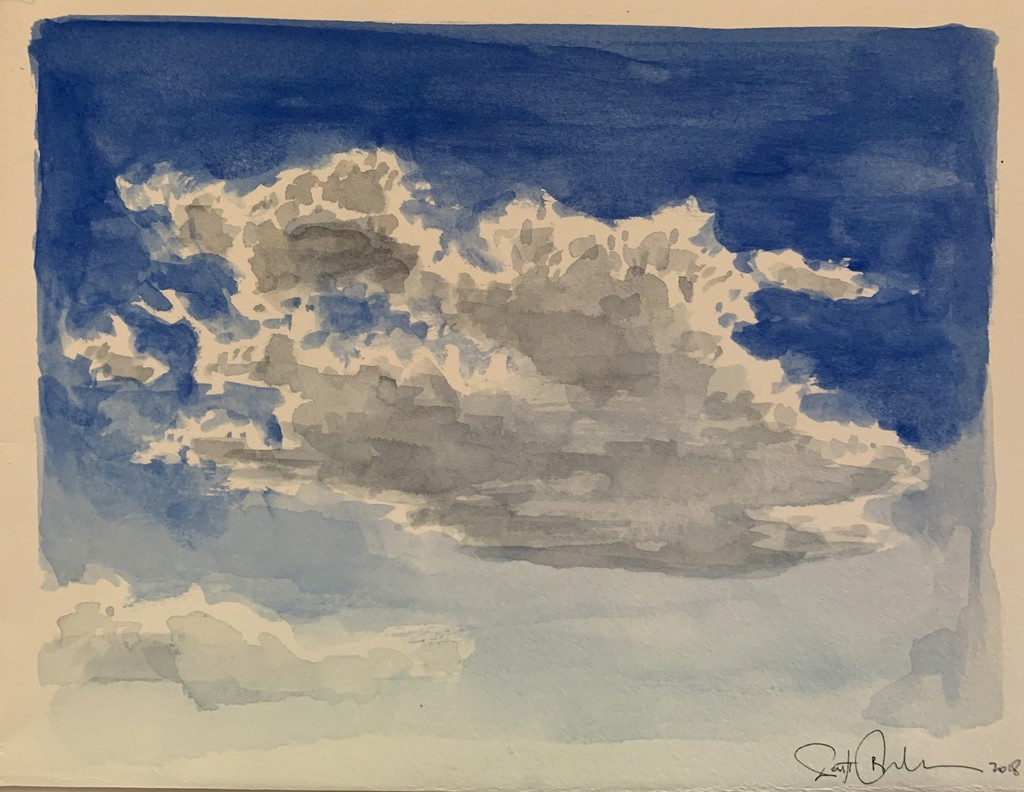 Scott Bluedorn  Cloud Study: Bright , 2018 watercolor on paper 6 1/8 x 8 in.