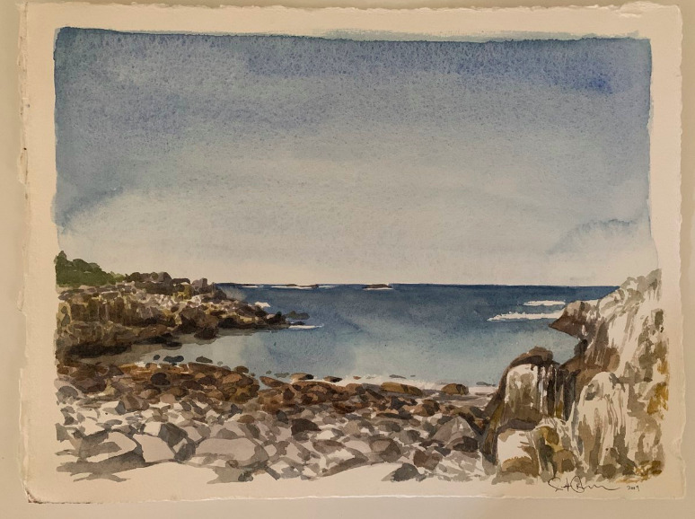 Scott Bluedorn  Broad Cove , 2019 watercolor on paper 10 x 13 1/4 in.