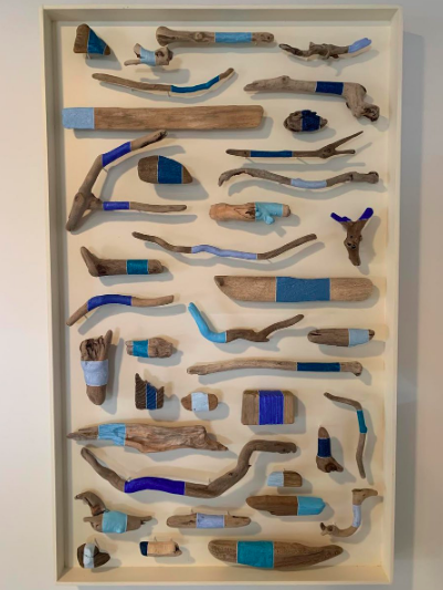 Jane Parkes  It must be blue , 2019 found driftwood and paint on wooden panel 30 1/2 x 18 1/2 in.
