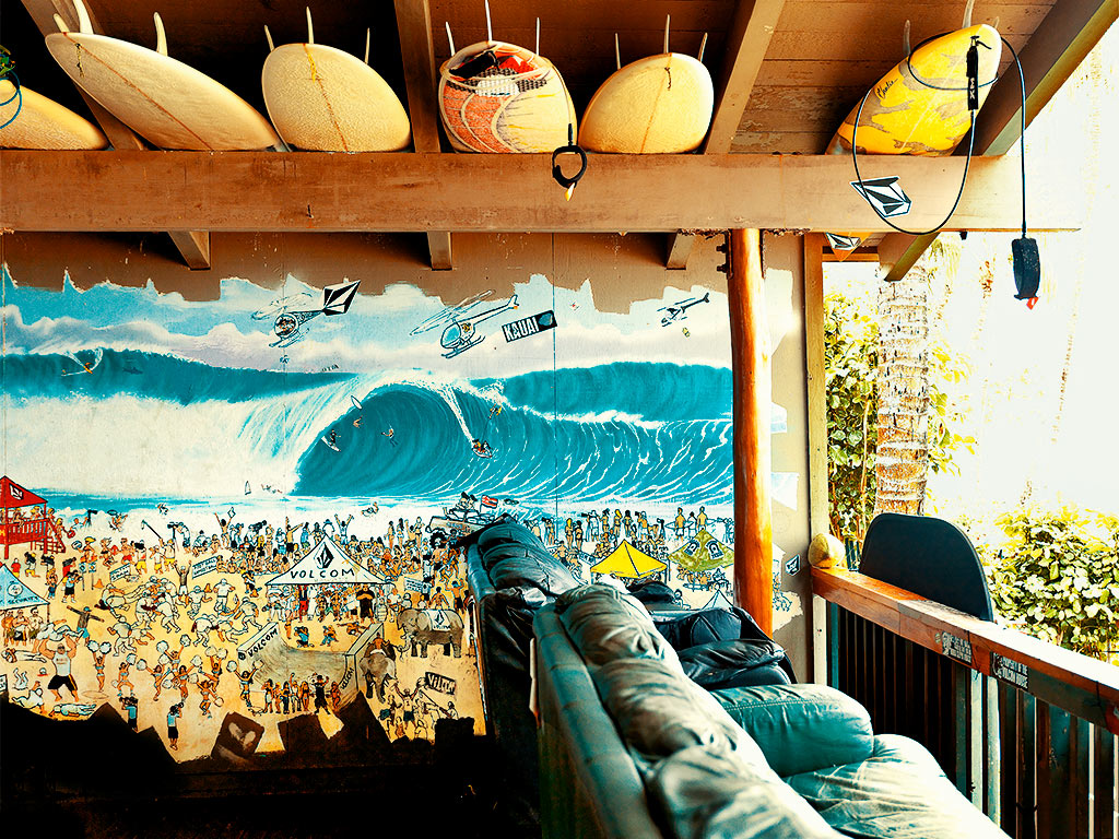 Thom Gilbert  Volcom Pro Surf Team House (Pipeline)  archival ink jet print with archival pigment ink on all cotton acid free paper 24 x 30 in.  also available in 17 x 22 in.  edition of 100