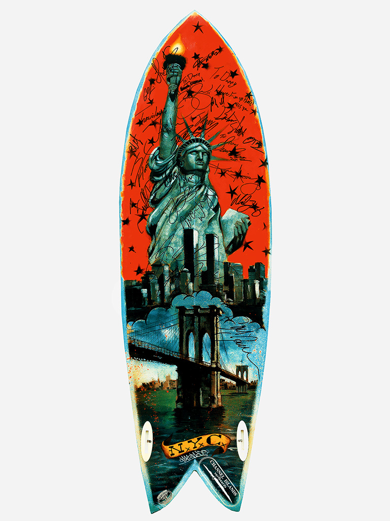 Thom Gilbert  9/11 Memorial Surfboard (NYC)  archival ink jet print with archival pigment ink on all cotton acid free paper 22 x 17 in.  also available in 30 x 24 in.  edition of 100