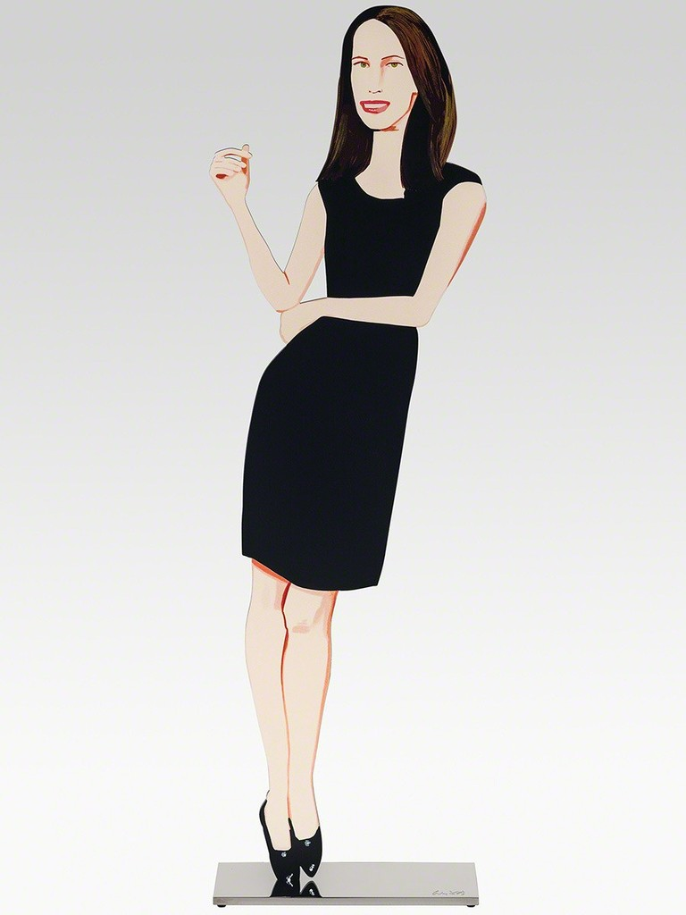 Alex Katz  Black Dress 9 (Christy),  2018 Shaped powder-coated aluminum, UV cured archival inks, stainless steel 25 1/2 x 7 1/2 x 3 in. edition of 35  Incised with the artist signature on top of base