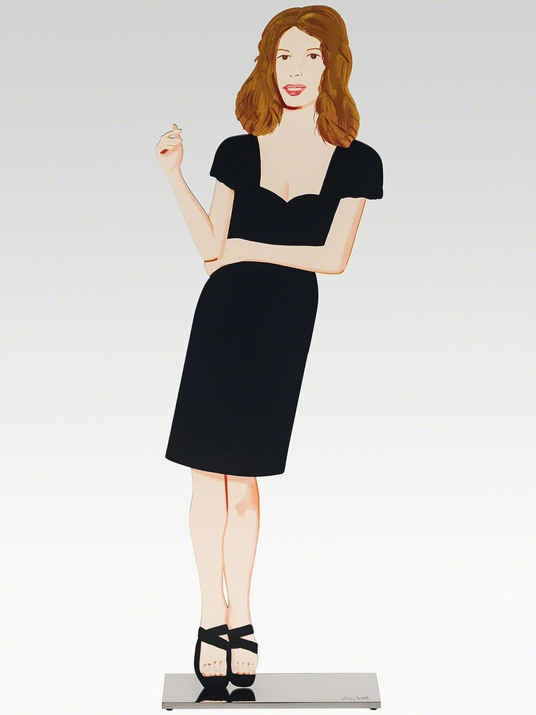 Alex Katz  Black Dress 2 (Cecily),  2018 Shaped powder-coated aluminum, UV cured archival inks, stainless steel 25 1/2 x 7 1/2 x 3 in. edition of 35  Incised with the artist signature on top of base