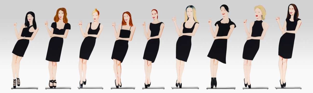 Alex Katz  Black Dress 1-9,  2018 Shaped powder-coated aluminum, UV cured archival inks, stainless steel 25 1/2 x 7 1/2 x 3 in. each edition of 35  Available as a set