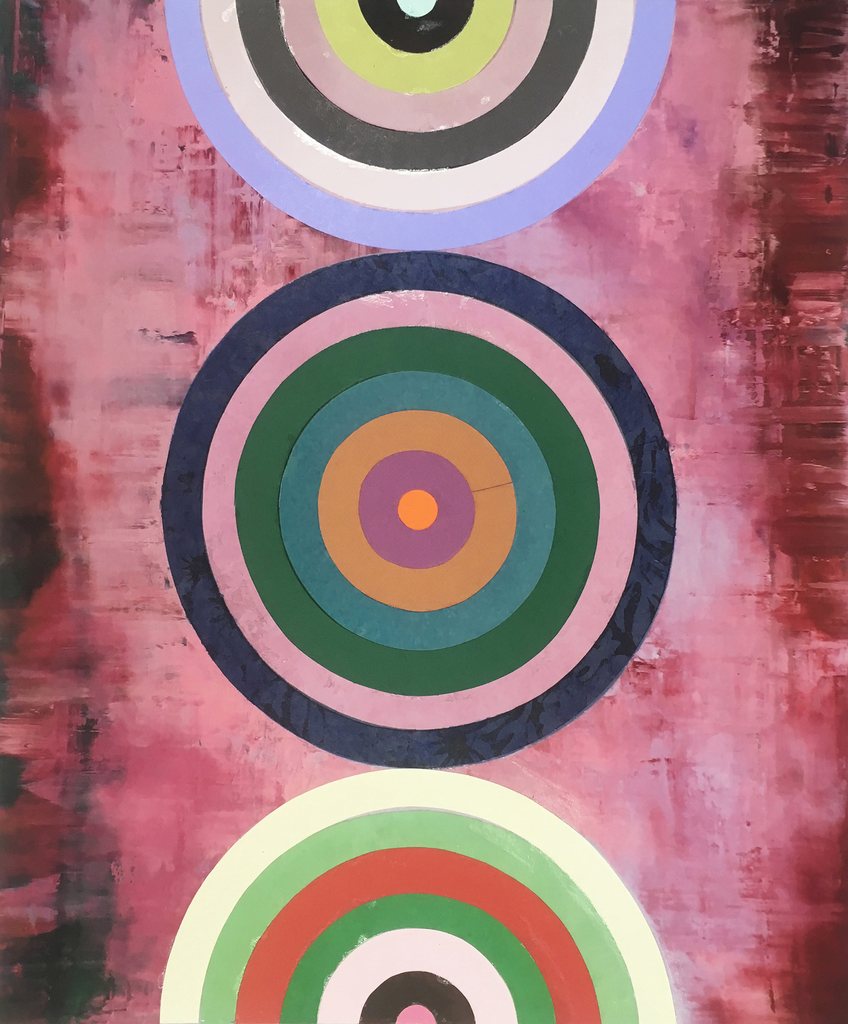 Perry Burns  Target Practice 2 , 2018 mixed media on paper 23 1/2 x 20 in.