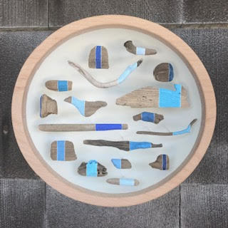 Jane Parkes  Blue Harvest , 2019 found driftwood and paint assembled in a wooden bowl 10 in. diameter