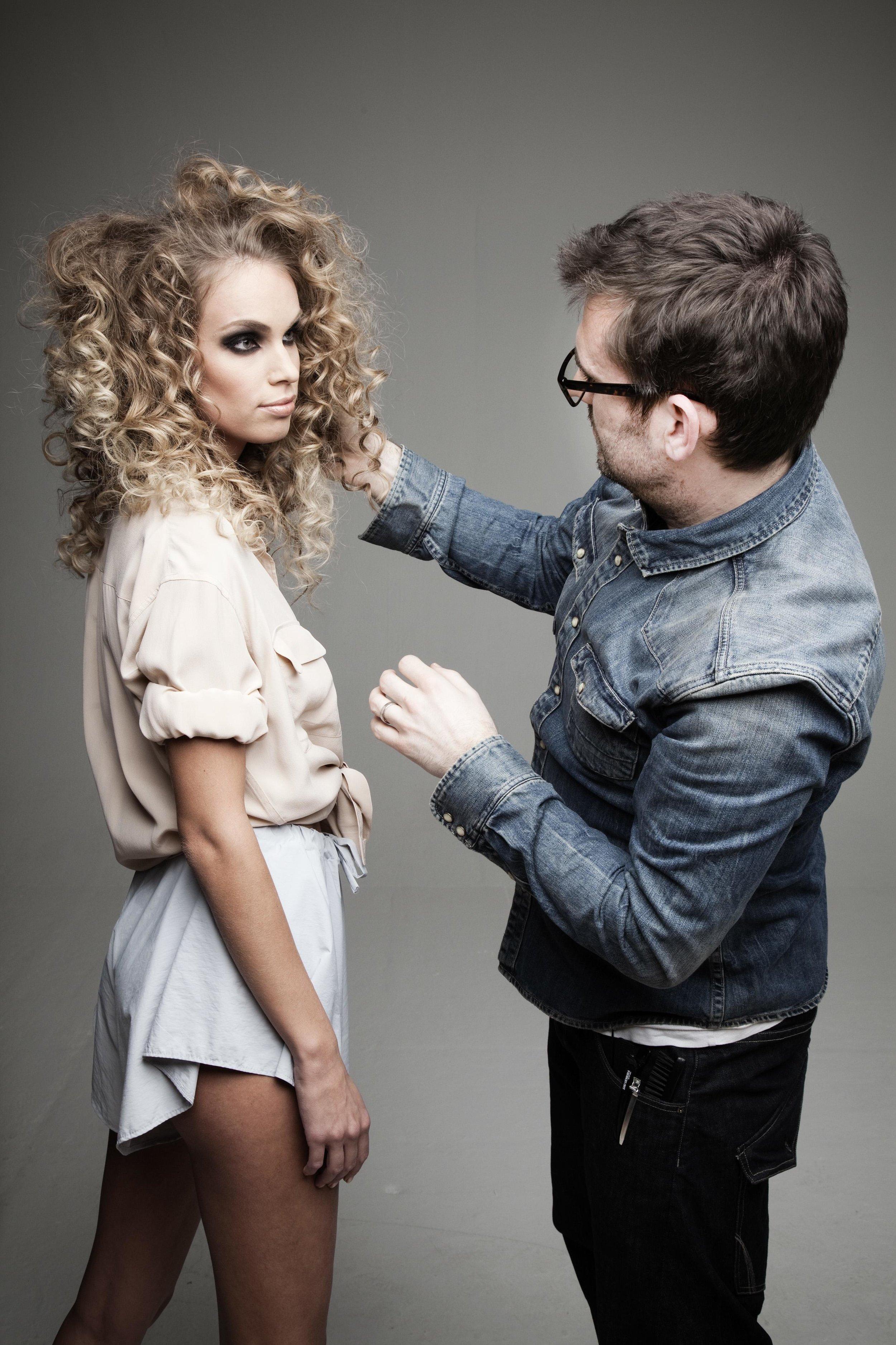 Dylan Bradshaw styling hair