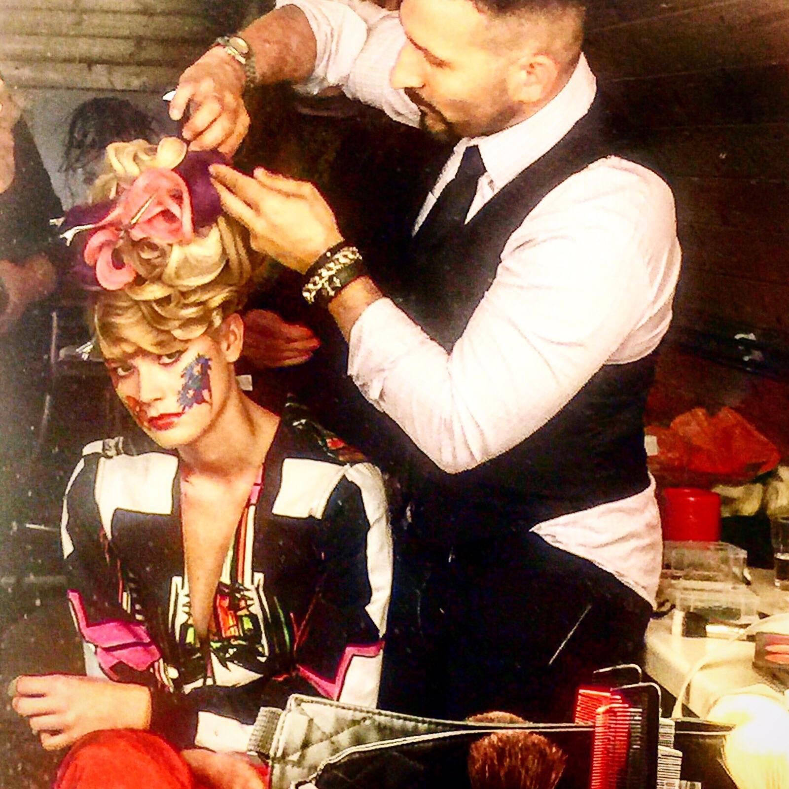 Joseph Koniak working on session hair