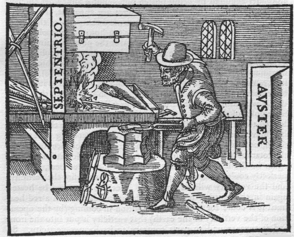 """Illustration of iron worker in a smith from De Magnete, used in Gilbert's proposal of how polarity is imparted into """"any iron that has been smelted though not empowered by a loadstone."""""""