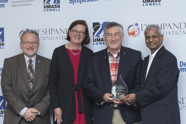 Pictured with his award, Akron Ascent Innovations' CEO and President, Dr. Barry Rosenbaum, was recognized for his impact on entrepreneurship and innovation in higher education at the Deshpande Symposium on June 15.