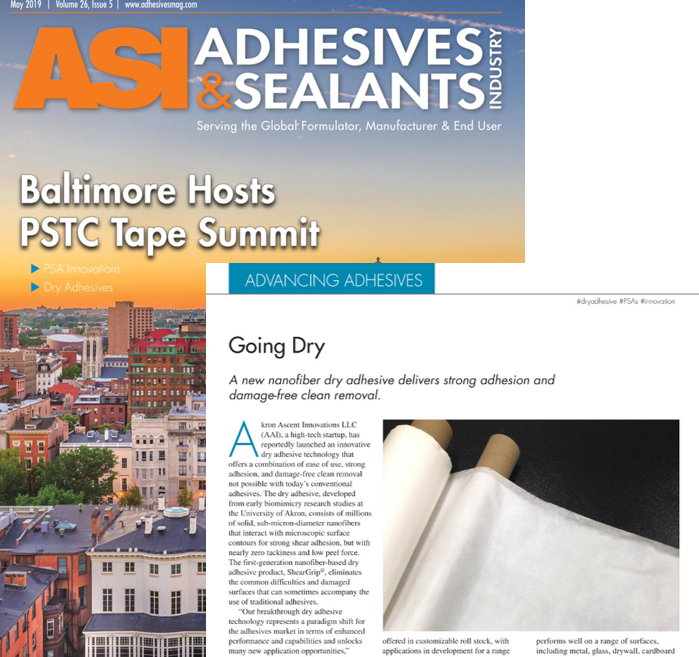 "AAI featured in ""Advancing Adhesives"" section of May 2019 Adhesives & Sealants Magazine -- ""Going Dry - A new nanofiber dry adhesive delivers strong adhesion and damage-free clean removal."""